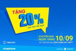 VinaPhone tặng 20% giá trị nạp cho TB trả trước nạp thẻ qua app My VNPT